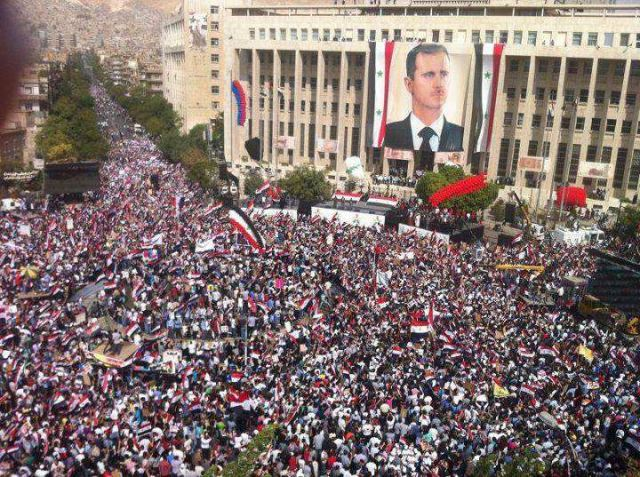 Record numbers turn out to vote and show their support for President Bashar Al Assad and his government. Damascus, 26 February 2012