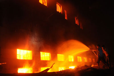 Fire rages at the Tazreen factory in Savar.