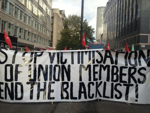 Trade unionists protest against blacklisting in central London, 9 February 2013