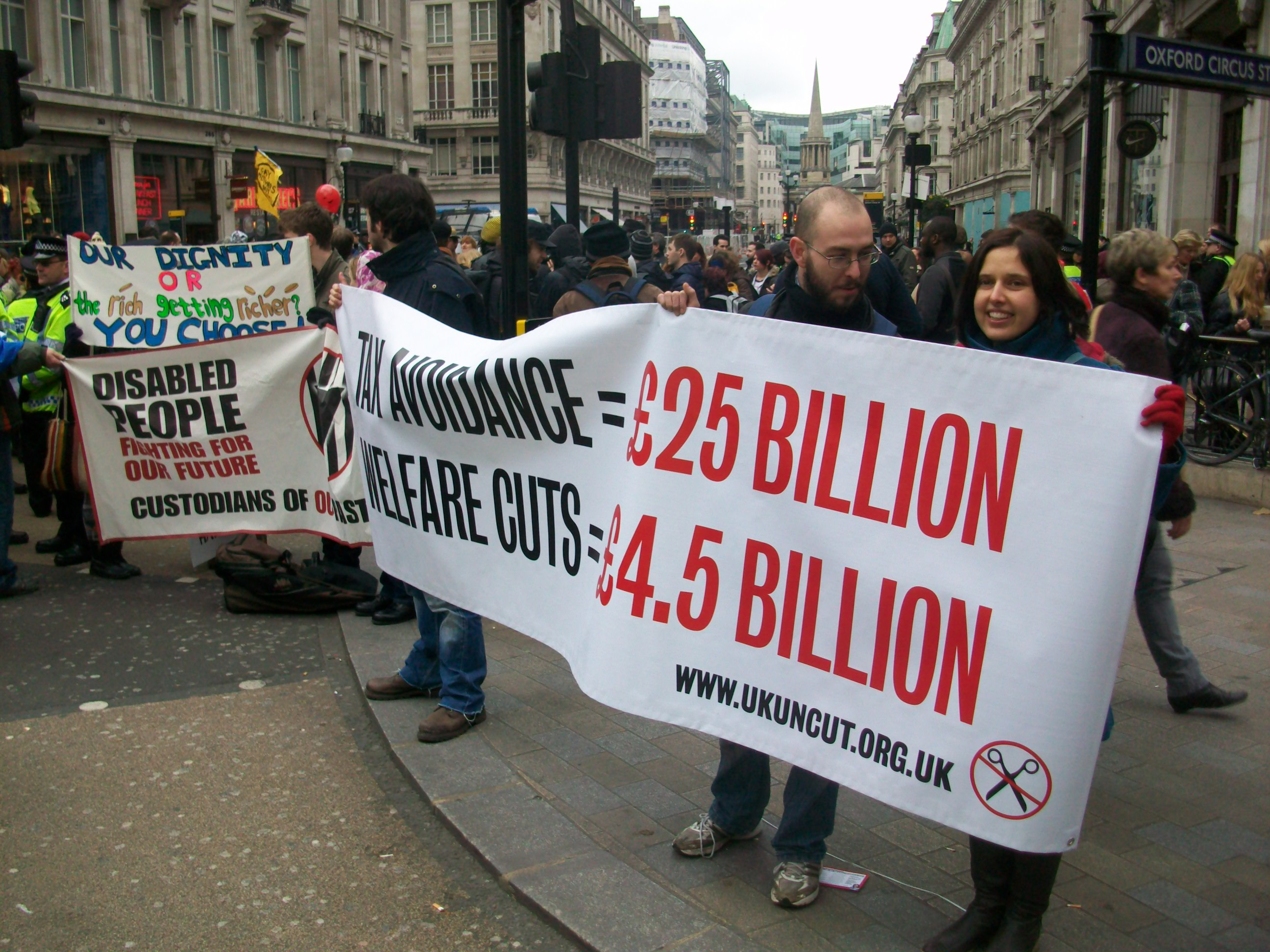 Protest in central London against cuts to welfare, 2012