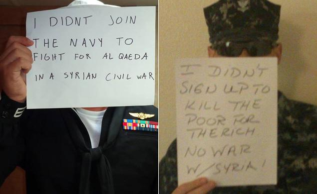 US soldiers protesting military strikes against Syria are taking to Facebook to voice their opposition to a war.
