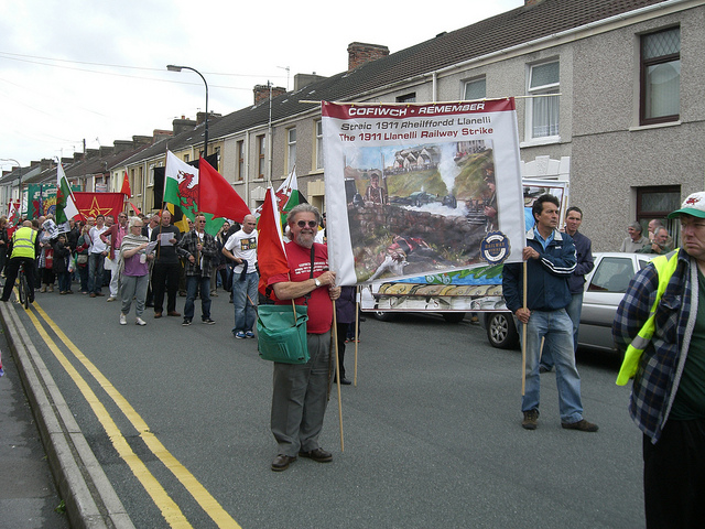 CPGB-ML banner and flags on the Llanelli rail commemoration march, August 2011